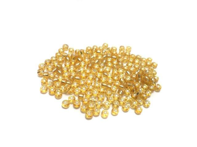 100 GM Seed Beads Silver Line Light Golden 8/0 Size