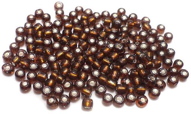 Glass Seed Beads Silver Line Topaz (100 Gm), Size 8/0 (3 )