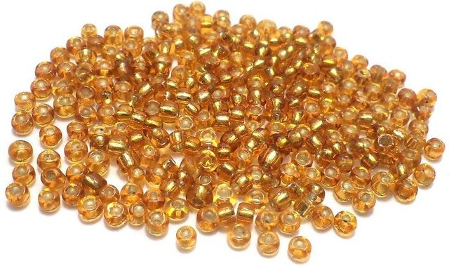 Glass Seed Beads Silver Line Golden (100 Gm), Size 8/0 (3 )