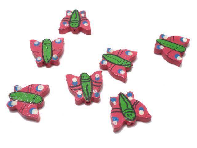 50 Pcs. Wooden Butterfly Beads Pink 21x18 mm