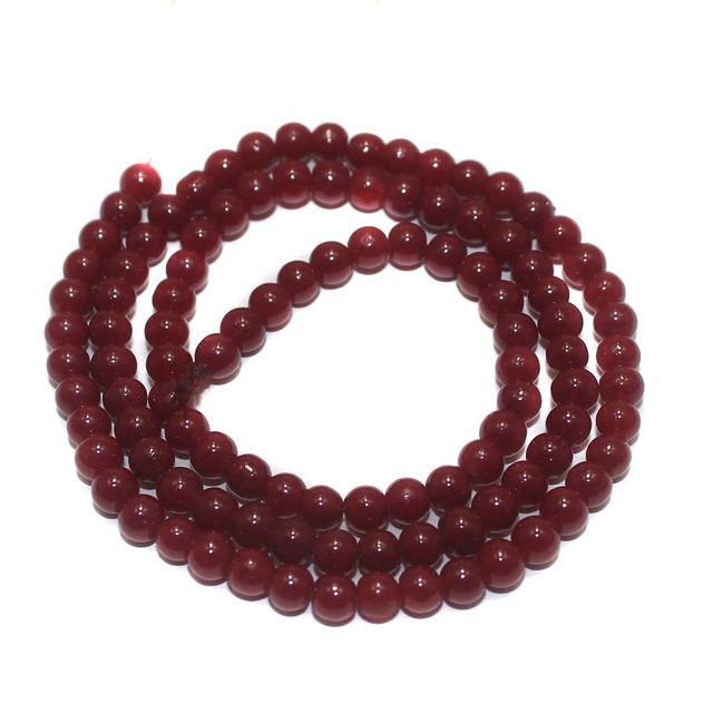 Jaipuri Beads Red Round 5 Strings 3mm