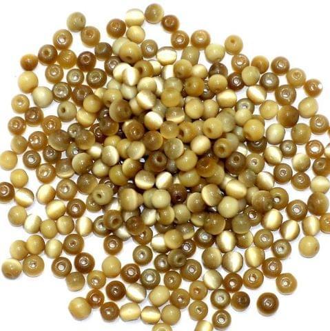 1000+ Cat's Eye Round Beads Light Brown 6mm