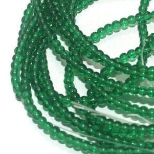 5 Strings Glass Round Beads Green 3 mm