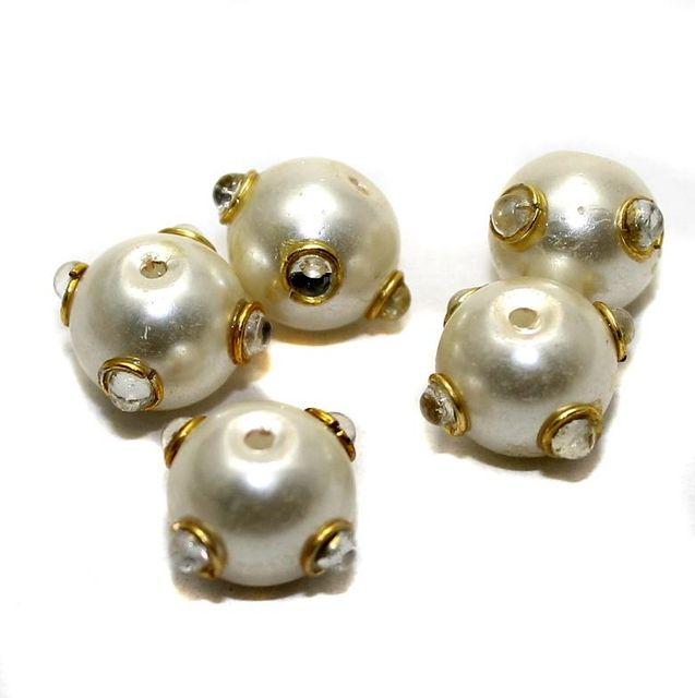 10 Pearl Meenakari Round Beads White 12mm