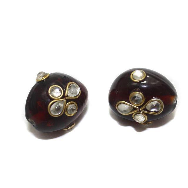 2 Glass Kundan Oval Beads Cherry 17x13mm