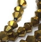 Crystal Faceted Bicone Metallic Beads Golden, size 4 , Pack of 100 pcs