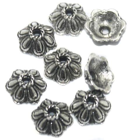 100 Pcs German Silver Bead Caps 10x4 mm