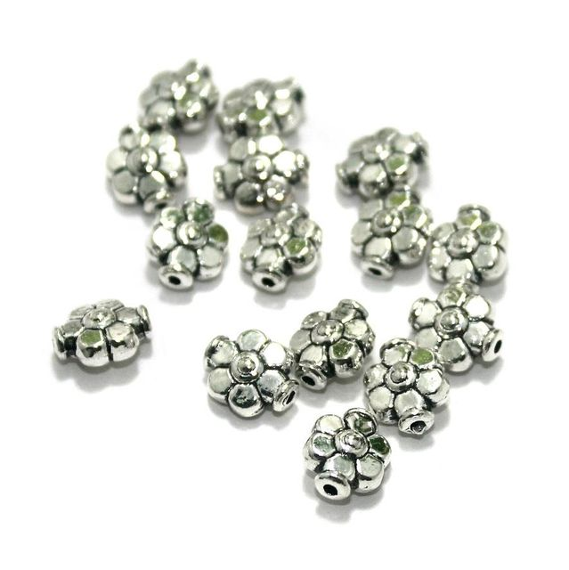 100 Pcs. German Silver Beads Silver 9x7 mm
