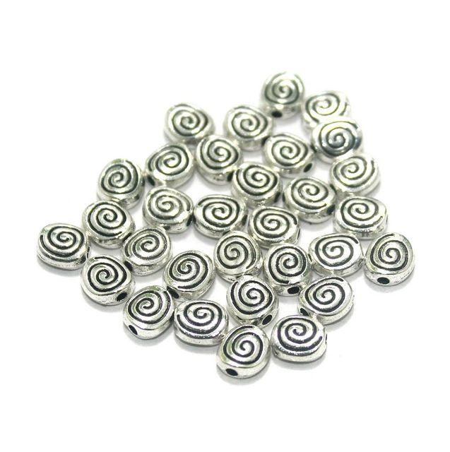 100 Pcs. German Silver Beads Silver 6 mm