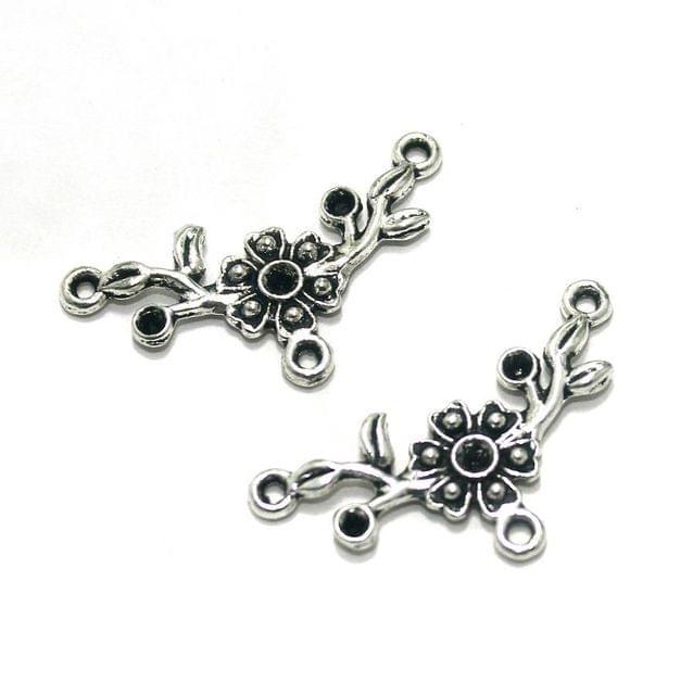 10 Pcs. German Silver Pendants Silver 31x13 mm