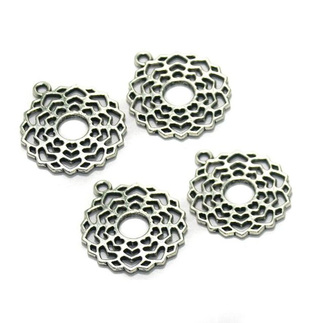 10 Pcs. German Silver Pendants Silver 30x26 mm