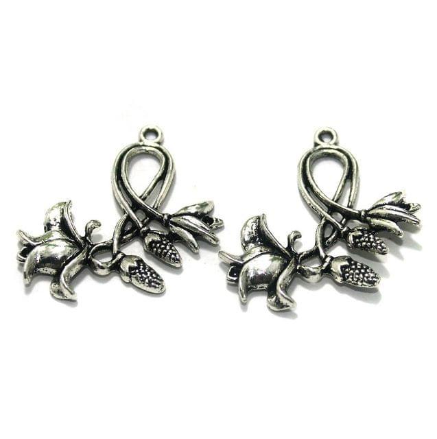 10 Pcs. German Silver Pendants Silver 35x24 mm