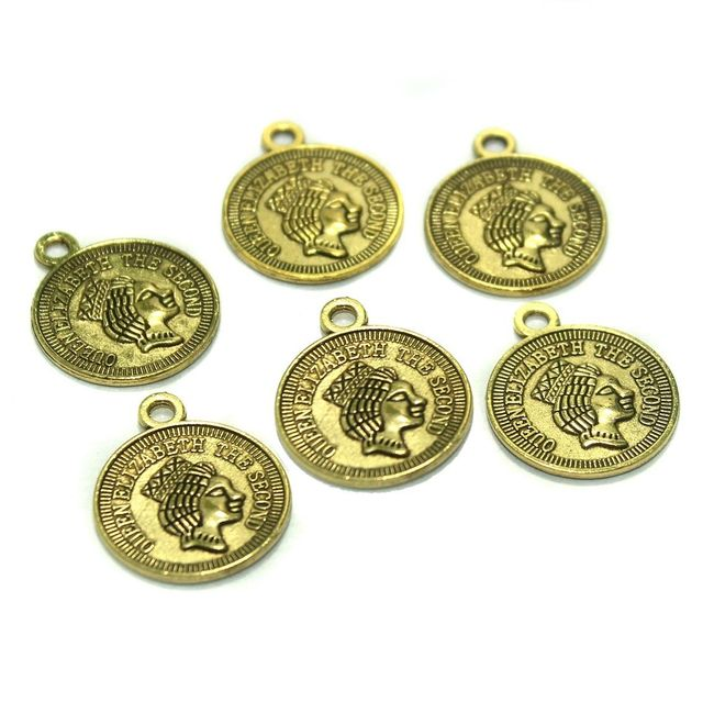50 Pcs. German Silver Pendants Golden 24x20 mm