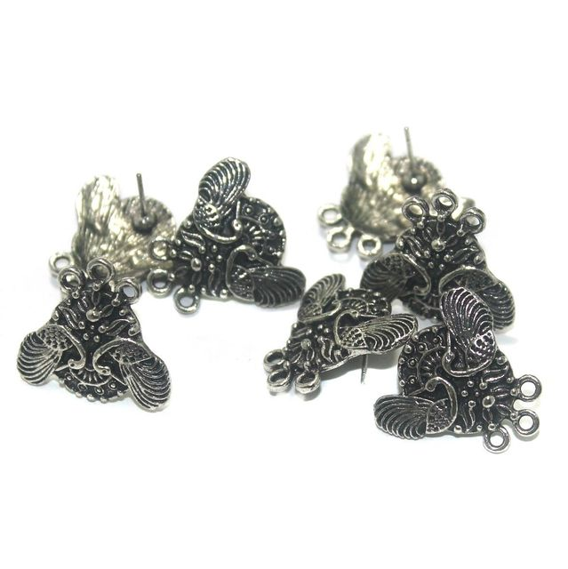 20 Pcs. German Silver Earring Components Silver 22x21 mm
