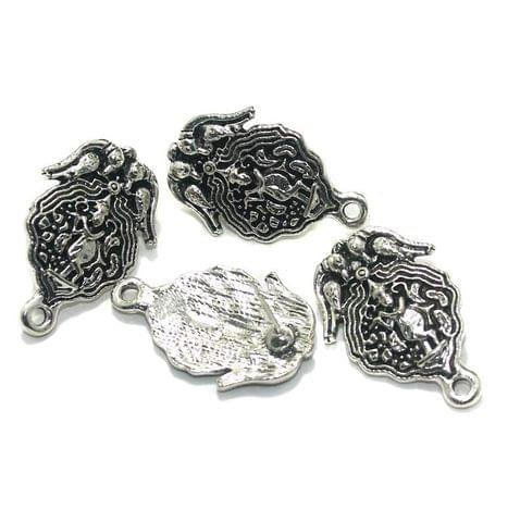 20 Pcs. German Silver Earring Components Silver 27x17 mm