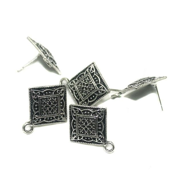 20 Pcs. German Silver Earring Components Silver 21x17 mm