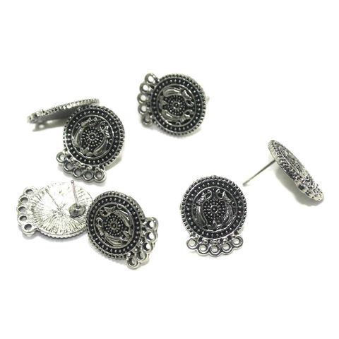 20 Pcs. German Silver Earring Components Silver 17x15 mm