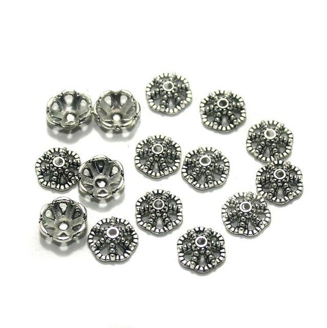 200 Pcs. German Silver Bead Caps Silver 9x3 mm