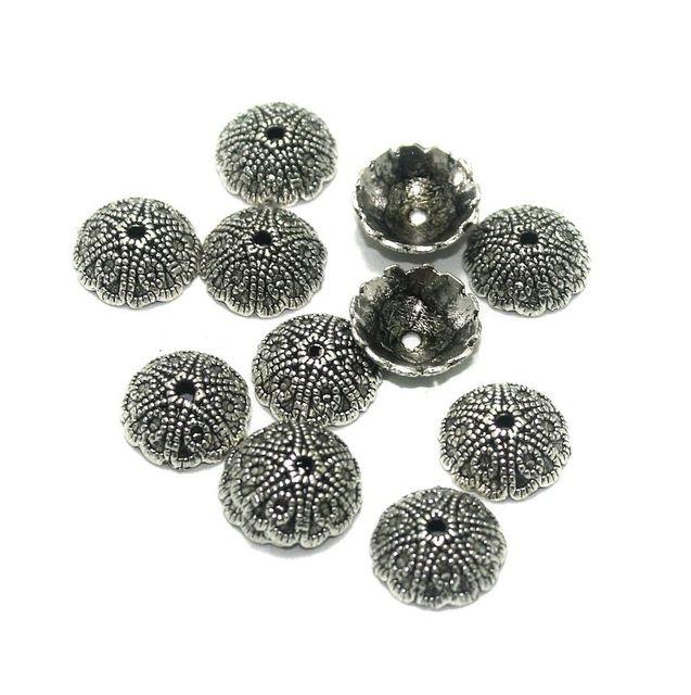 100 Pcs. German Silver Bead Caps Silver 12x4 mm