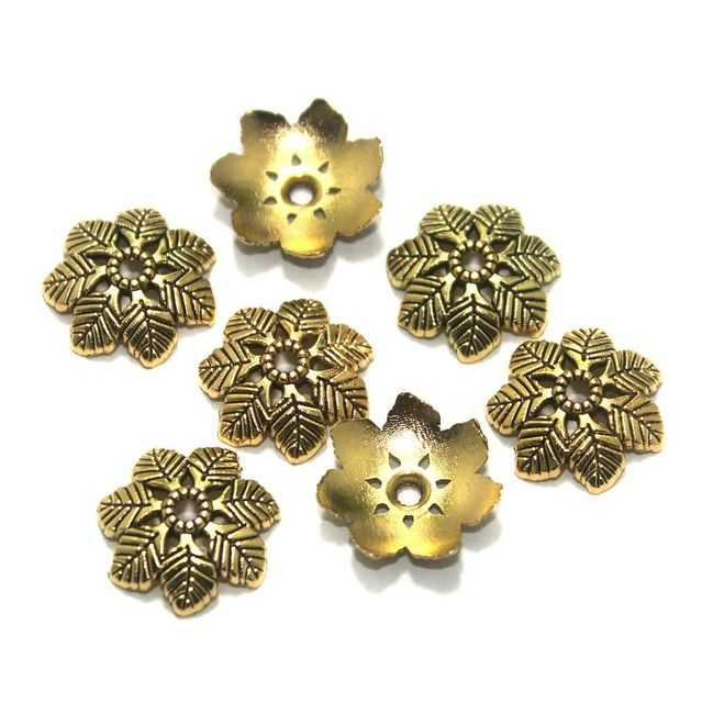 50 Pcs. German Silver Bead Caps Golden 15x2 mm