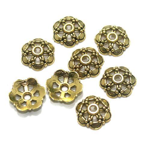 100 Pcs. German Silver Bead Caps Golden 12x3 mm