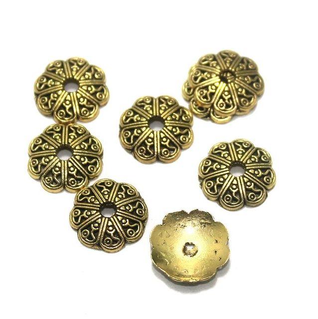 100 Pcs. German Silver Bead Caps Golden 12x2 mm