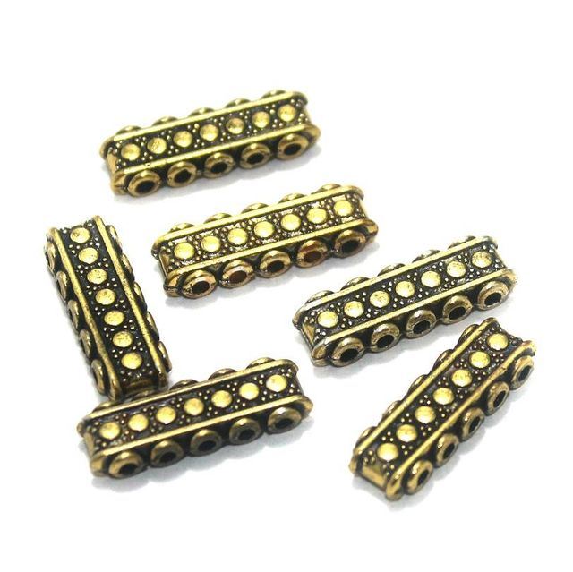 20 Pcs. German Silver Spacer Beads Five Hole Golden 22x7 mm