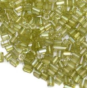 2 Cut Seed Bugles Beads Light Peridot Rainbow (100 Gm), Size 11/0