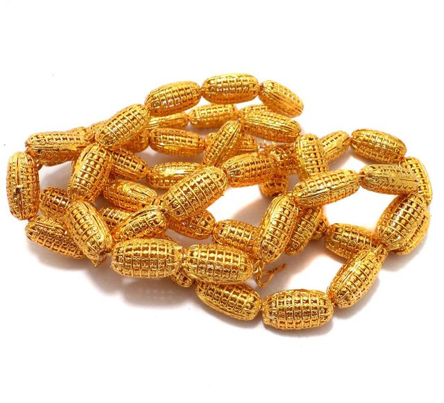 25 Pcs German Silver Oval Beads Golden 21x11 mm