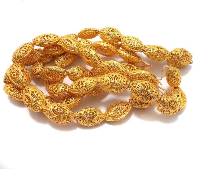 25 Pcs. German Silver Flat Oval Beads Golden 22x15 mm