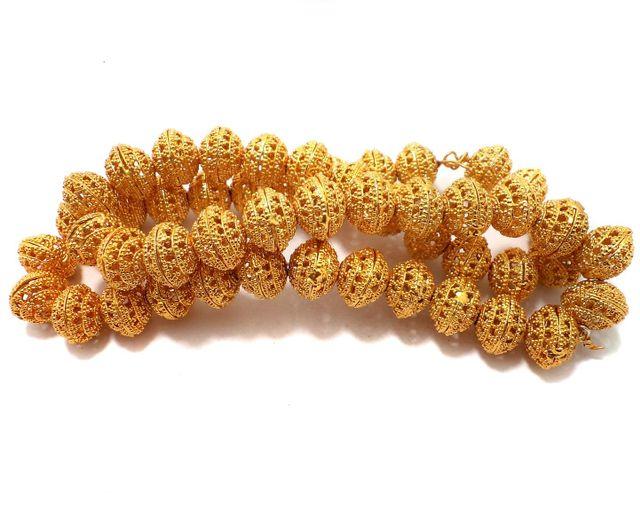 25 Pcs German Silver Rondelle Beads Golden 14x11 mm