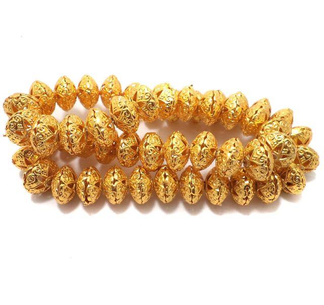 25 Pcs German Silver Rondelle Beads Golden 15x9 mm