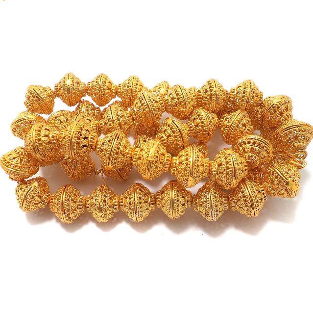 25 Pcs German Silver Rondelle Beads Golden 15x13 mm