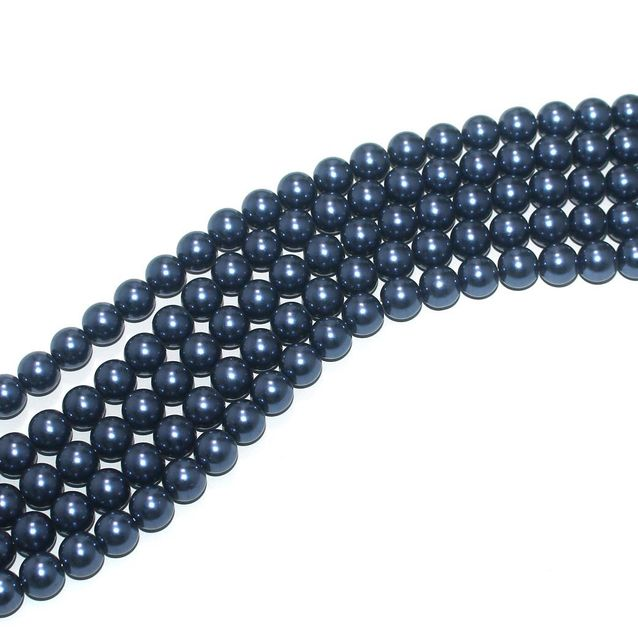 Shell Pearl Beads Marine Blue, Size 10mm, Pack Of 5 Strings