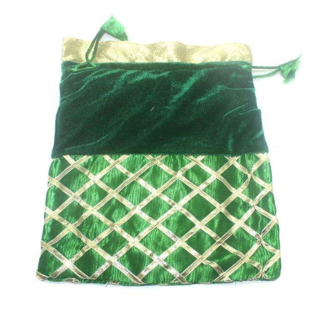 Potli Bags Green for Jewellery Gift & Craft 25x20cm, Pack of 25 pcs