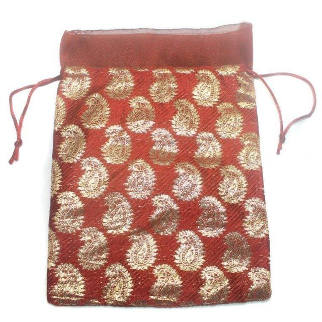 Potli Bags Red for Jewellery Gift & Craft 25x18cm, Pack of 50 pcs