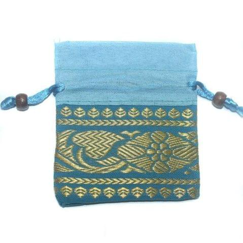Potli Bags Sky Blue for Jewellery Gift & Craft 10x9cm, Pack of 200 pcs