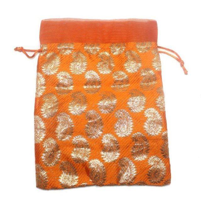 Potli Bags Orange for Jewellery Gift & Craft 24x18cm, Pack of 50 pcs