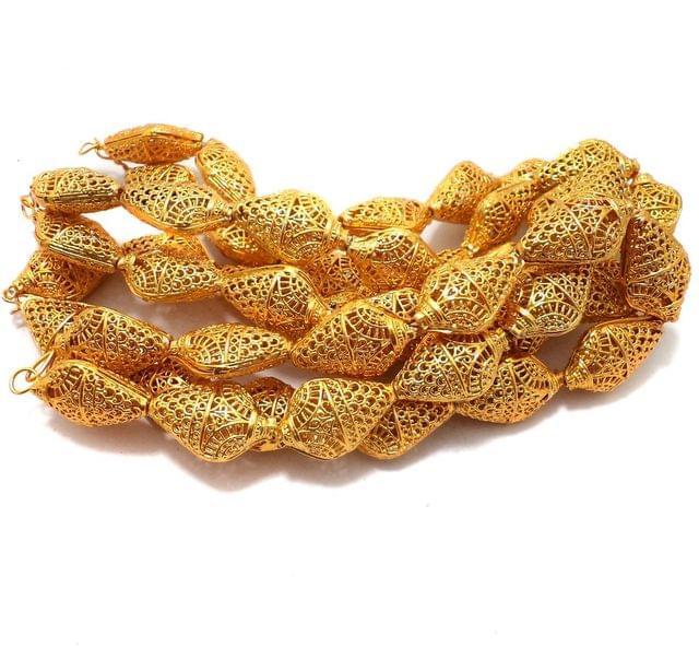 25 Pcs. German Silver Flat Drop Beads Golden 23x16 mm