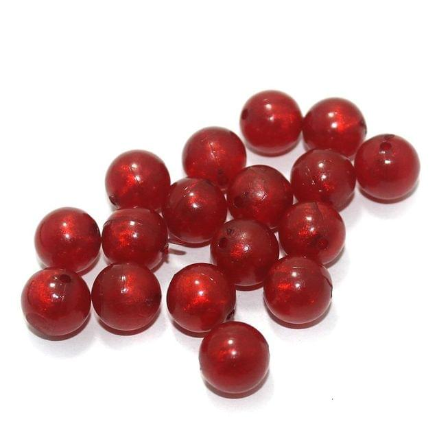 100 Gm Acrylic Round Beads Red 12 mm