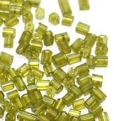 2 Cut Seed Bugles Beads Trans Olive Green (100 Gm), Size 11/0