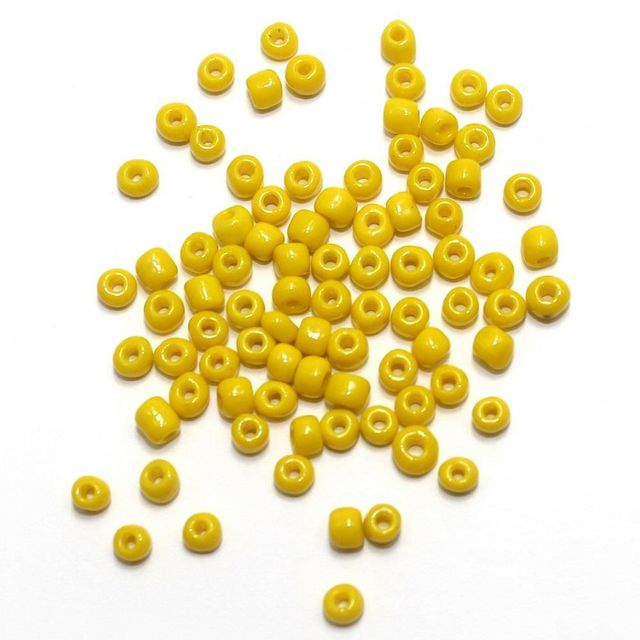 100 Gm Seed Beads Opaque Yellow 8/0 size