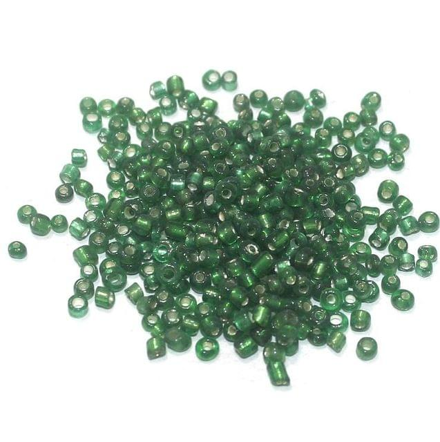 Silver Line Seed Beads Green (100 Gm), Size 11/0