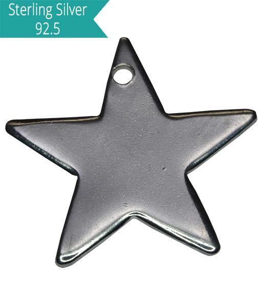 Sterling Silver Star Engraving Charm