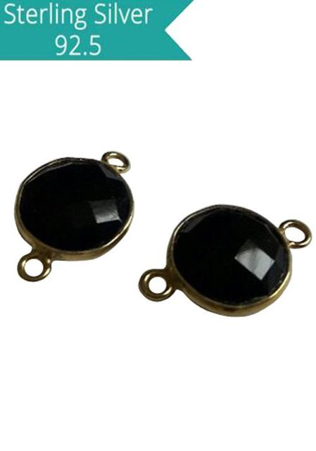 10mm Round Black Onyx Connector, Pack of 2 Pcs.
