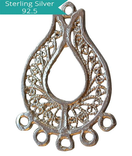 Sterling Silver Chandelier 26x17mm, Pack of 2 Pcs.