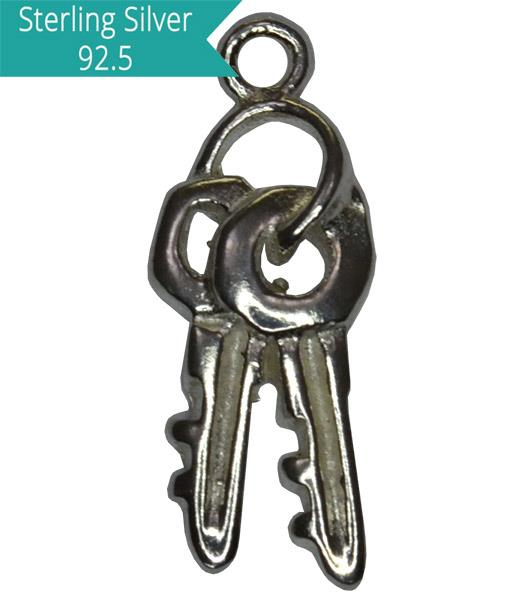 Sterling Silver Double Key Charm, Pack of 2 Pcs.