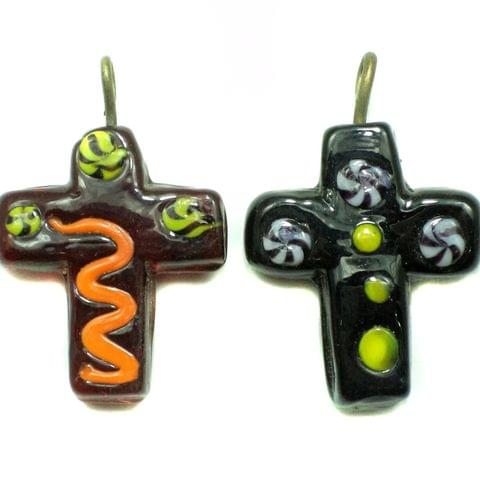 2 Glass Cross Pendants Assorted 30x25 mm