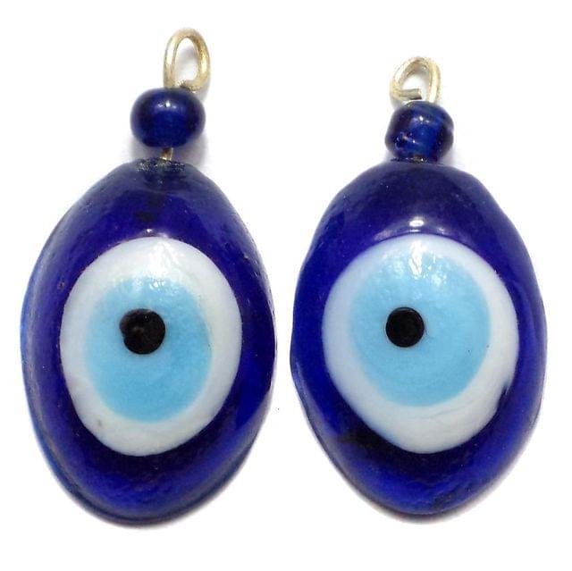 5 Glass Eye Pendants Blue 24x18 mm