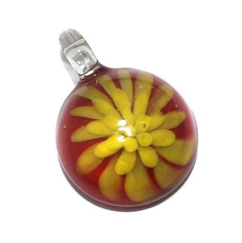 Glass Flower Pendant 39x27mm